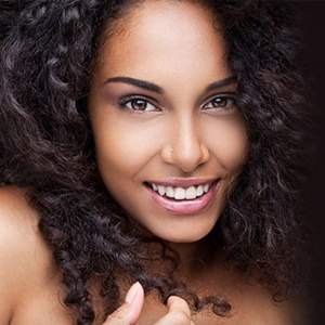 woman modeling smiling